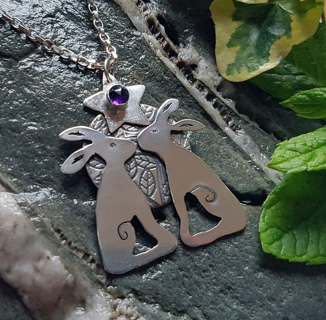 Mr & Mrs Hare Silver and Amethyst Pendant