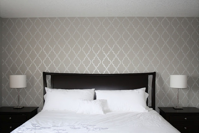 Grey Master Bedroom Stencil Accent Wall