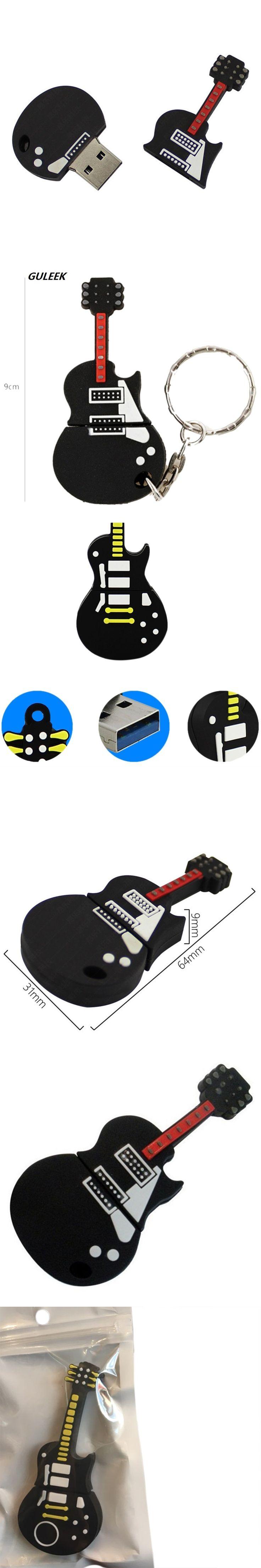 Guitar Design USB 2.0 Flash Drives 4GB/8GB/16GB Keychain Memory 5600MB/s PVC Classic Design USB Gadget 6.4*3.1*0.9CM