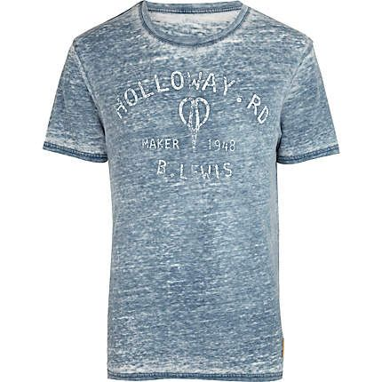 Blue burnout Holloway Road print t-shirt - branded t-shirts - t-shirts / vests - men