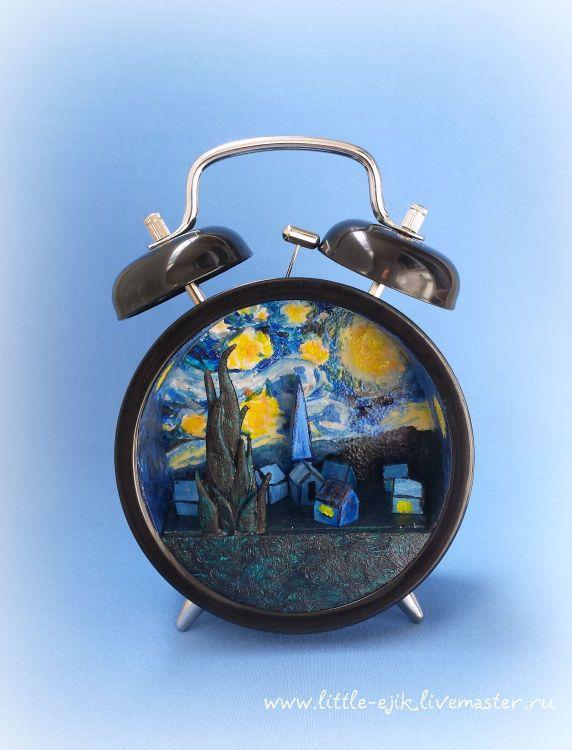Купить Звездная ночь. Миниатюра в будильнике - синий, будильник, часы, Ван гог…