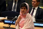 Malala Yousafzai speaks before the United Nations Youth Assembly on Friday at UN headquarters in New York.  |  July 12 is Malala day amazing young woman