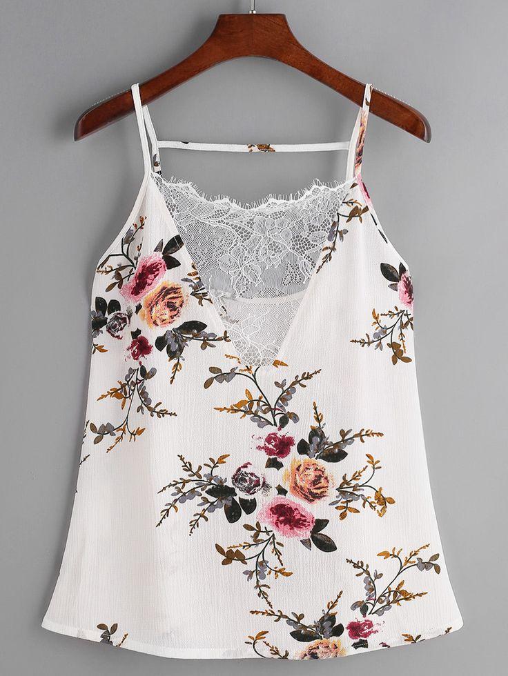 Top con estampado floral con cuello en V con encaje - blanco-Spanish SheIn(Sheinside)