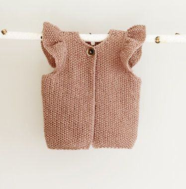 Knit Baby Girl Vest Baby Girl Waistcoat with Raffles by LalaKa