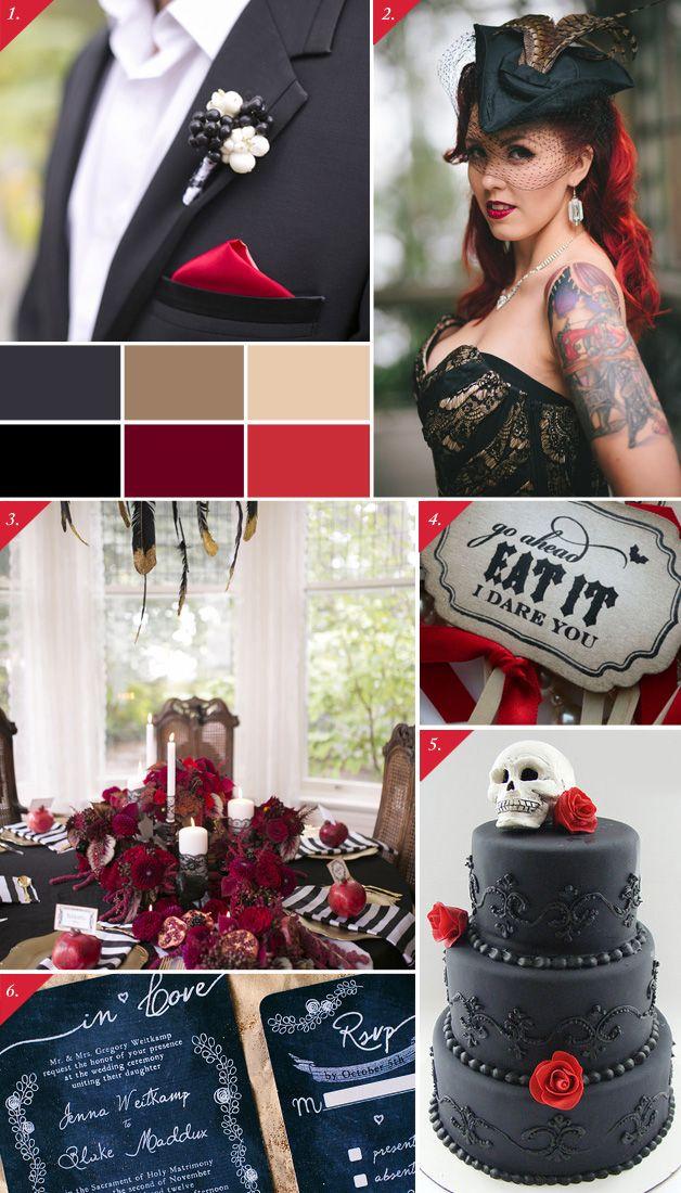 Edgy black  red | Tummanpuhuvat häät - Best Day Ever