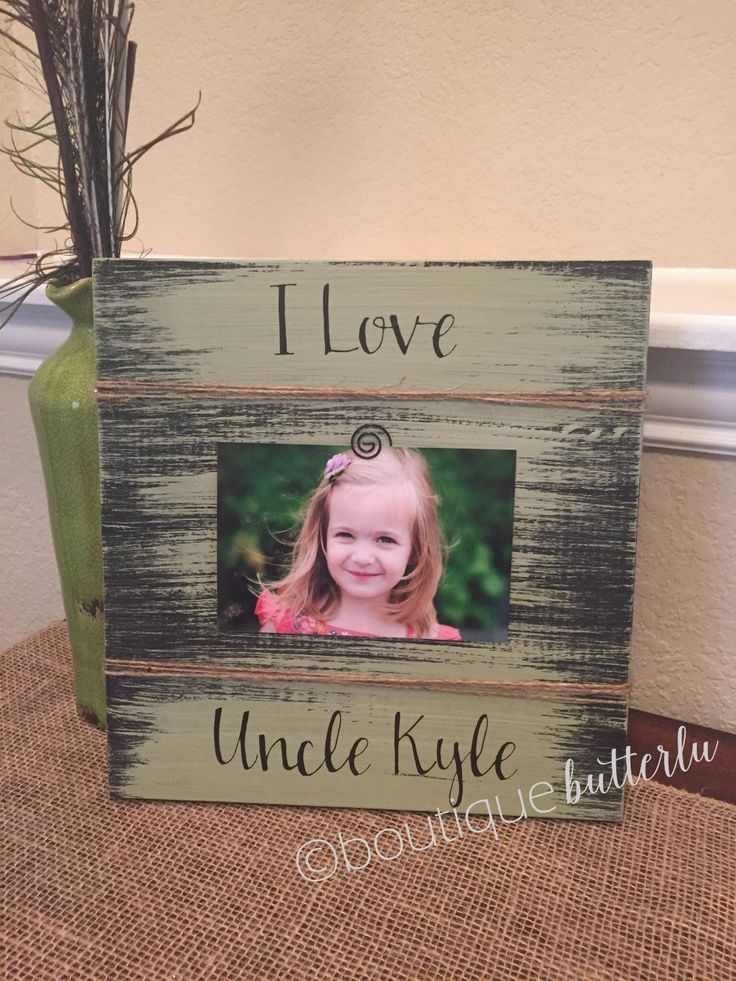 """Uncle Gift Frame - Mom, Sister-,Aunt - Personalized frames - Great Uncle Gift Frames- I love My Uncle. Gorgeous frame! Measures about 11"""" square. Can be personalized with quote of your choice and colors. The sample in the picture is distressed green. The letters are black vinyl and the photo is held in with a clip on the frame . All items are hand cut, sanded, painted and embellished by me so no two are exactly alike :) Making your gift unique! Your frame will come wrapped in cute…"""