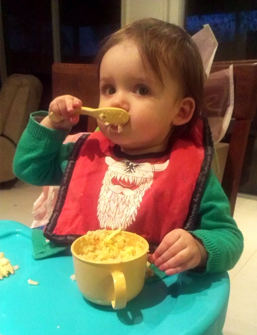 Lovely Evie eating independantly and happily :)
