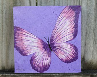 Original Purple Butterfly Painting on Canvas by ColorsbyRuth
