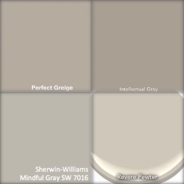 Choosing paint color for our living room. Paint color for a modern farmhouse living room. Choosing between Benjamin Moore Revere Pewter, Sherwin Williams Intellectual Gray, Sherwin Williams Mindful Gray, Sherwin Williams Perfect Greige. LRV of paint colors.
