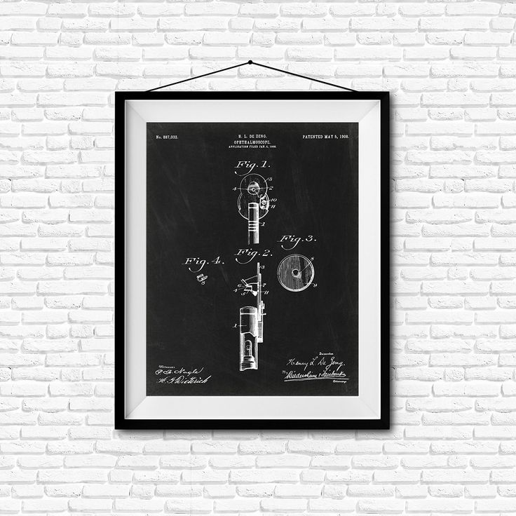 Ophthalmoscope Patent Print- 1908 - Poster Wall art Illustration Print Art Home…