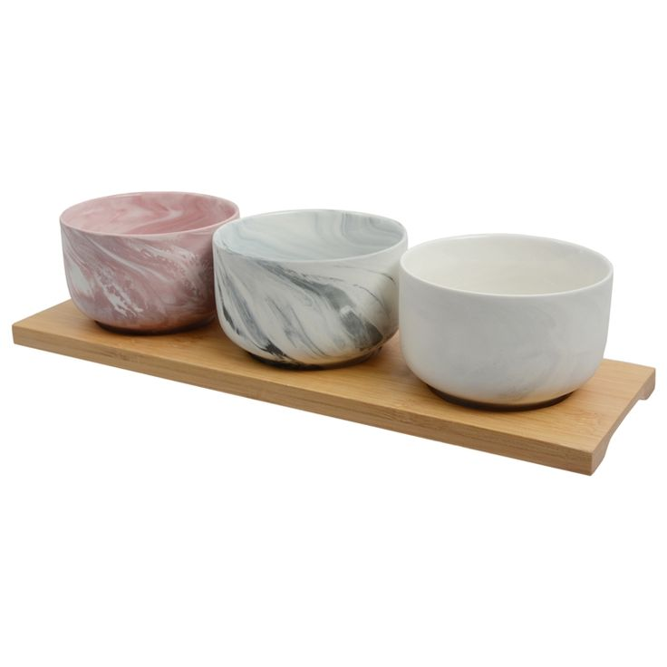 Set of 3 marbled dip bowls on a bamboo tray
