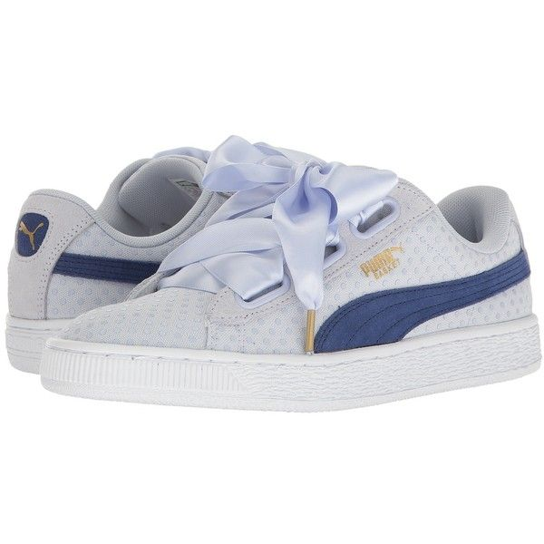 PUMA Basket Heart Denim (Halogen Blue/Twlight Blue) Women's Shoes ($80) ❤ liked on Polyvore featuring shoes, blue color shoes, dot shoes, cushioned shoes, laced shoes and laced up shoes