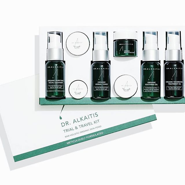 """If you can't eat it, don't put it on your skin"" - DR ALKAITIS  Besides the big size products of dr Alkaitis, we also sale travel kits. Everything you need for a balanced and healthy skin for on the go! Order on our site or come by the store and we'll make sure to provide you with one."