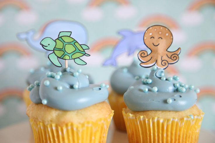 Under the Sea Party, Baby shower Sea Animals, Under the Sea Theme, Cupcake Toppers, Sea Critters Birthday, Cupcake toppers, Whale. $9.00, via Etsy.