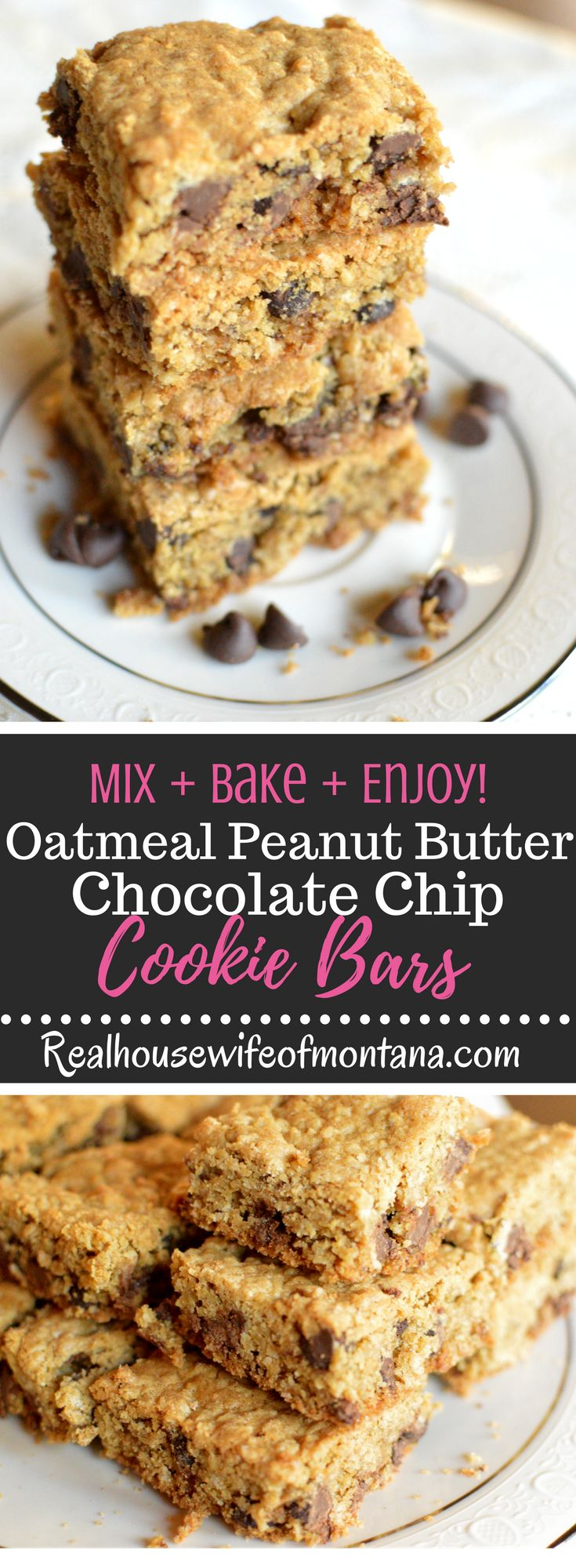Oatmeal Peanut Butter Chocolate Chip Cookie Bars – Chewy and deliciously simple Cookie Bars with peanut butter, oatmeal and melty chocolate chips. My new go-to for when I want cookies but don't want to have to bake batch after batch! | Realhousewifeofmontana.com |