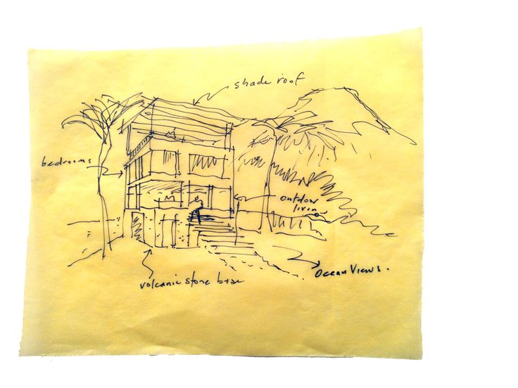 Sketch concept on yellowtrace for small villa on the east coast of Bali.