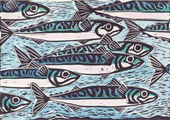 mackerel lino cut caroline barker