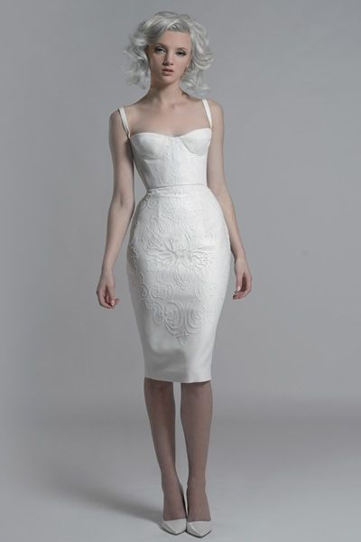 Paolo Sebastian white corset dress with sequin motif embroidery.