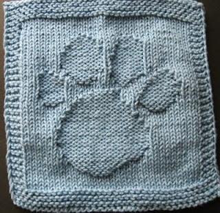 Paw Print free dishcloth knitting pattern