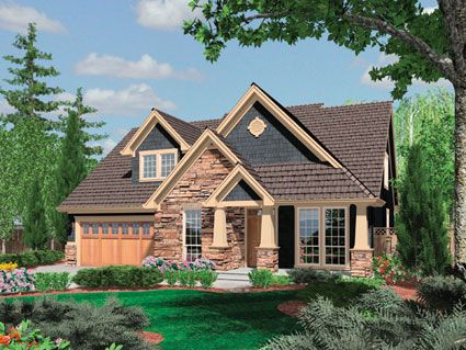 """Craftsman House Plan # 441043- With a nod to the details of the Arts and Crafts movement, this appealing bungalow has an eye-catching covered front porch, cedar-shingle accents, and light-catching windows. Living Sq. Feet: 2277 Bedrooms: 3 Bathrooms: 2 1/2 Garage Bays: 3 Dimension: 48'0"""" x 56'0"""" http://ultimateplans.com/Plans/441043.aspx #houseplan #homeplan #craftsman"""