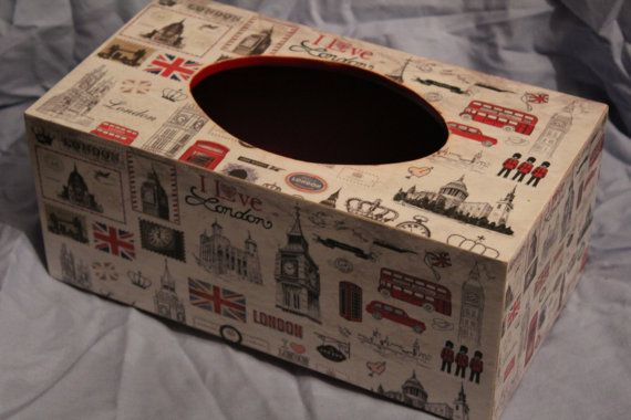 London themed tissue box cover