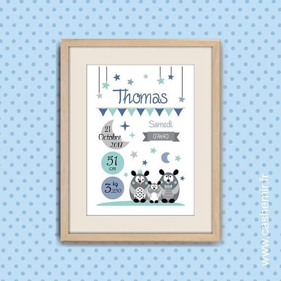 Cadeau Naissance Affiche Personnalisee Bebe Decoration Chambre