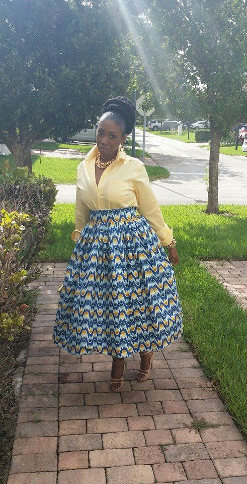 This skirt is not a circle skirt it's a simple gathered skirt. I used 3yds at 45in of African printed fabric (wax) my waist is 35in so adjust for your measurement. I cut a strip for the waistband (from the width of the fabric). I then used the ENTIRE 3yds to gather for the skirt. I gathered the 3yds down to 35inches (my waist) ,left 5/8 on the two ends to put in the zip, then i added the waistband.The key to the fall of gathered skirts or dresses is a wide hem so my hem is 4inches .