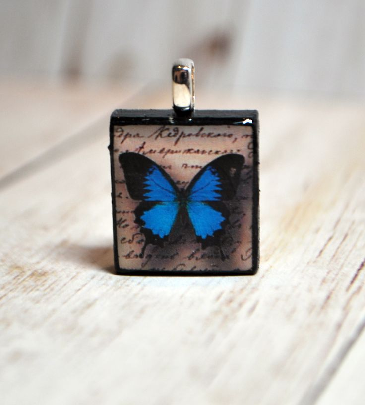 Sweet blue morpho butterfly Scrabble pendant