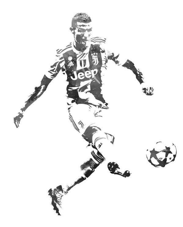 Cristiano Ronaldo Juventus Water Color Pixel Art 1 Art Print