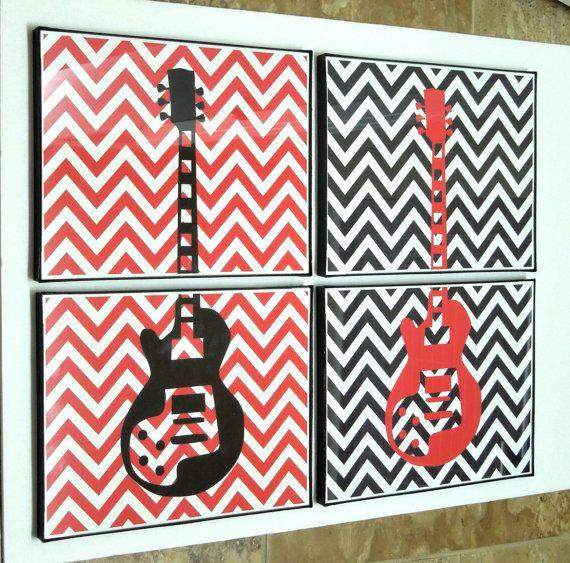 Modern Guitar Art Print Gibson Music Room Decor by DIGIArtPrints, $28.00