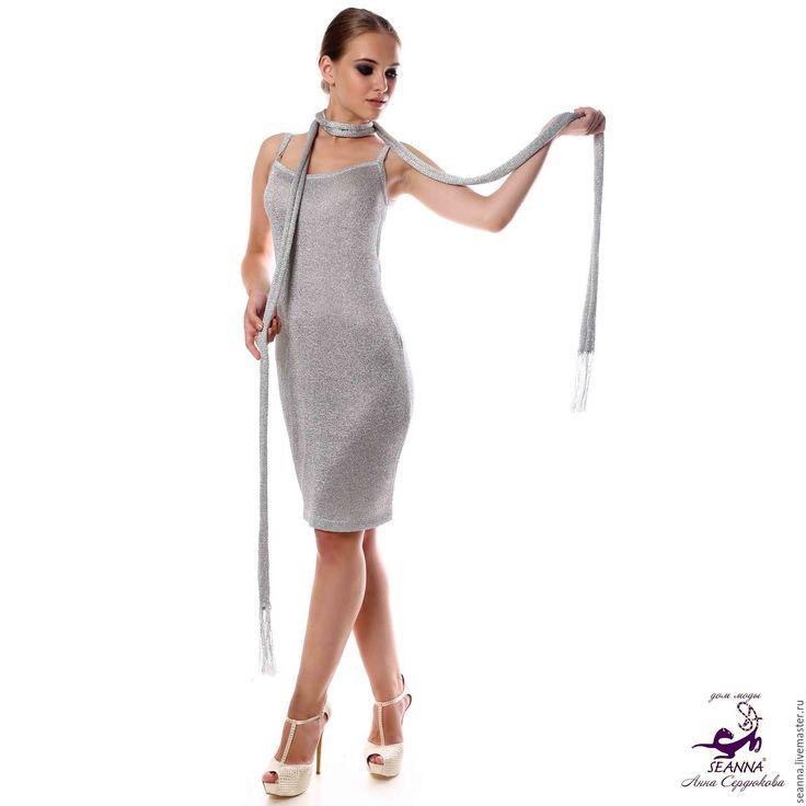 """Купить Роскошный шарфик-лариат """"Расплавленное серебро"""" очень мягкий и блестящ - шарф, шарфик"""