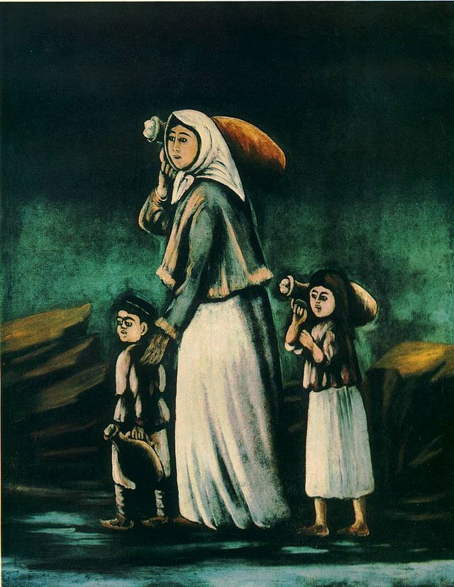 Pirsomani. Woman and her children going to a spring