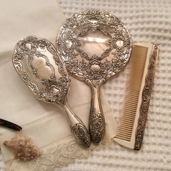 Silver Hand Mirror Towle Vanity Set Silver Plate Repousse Hand Mirror Hand Brush \u0026 Comb Elegant Bathroom Vintage Lady Dresser Set of 3 PC. S & 897 best ✤ MirrorBrush \u0026 Comb Sets ✤ images on Pinterest | Vanity ...