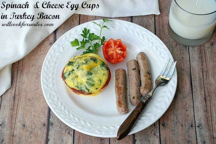 : Spinach & Cheese Egg Cups Wrapped in Turkey Bacon, Give Breakfast ...
