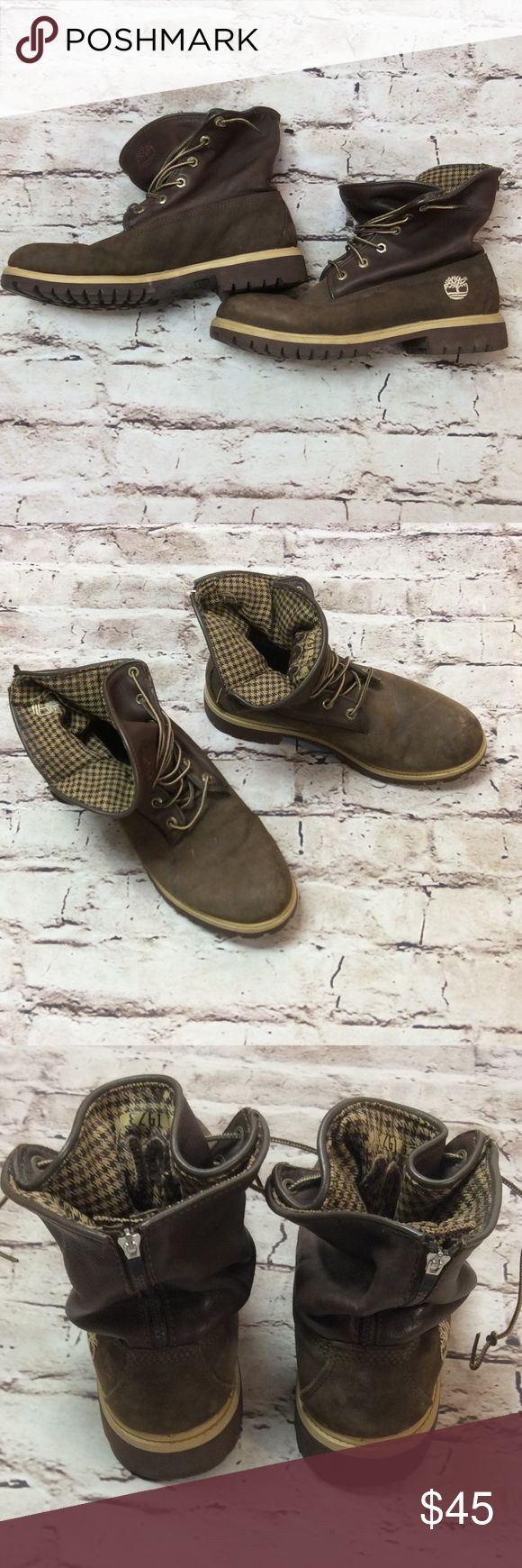 "MEN'S TIMBERLAND ROLL TOP LEATHER BOOTS Great pair of stylish boots with a houndstooth roll top. Wear up or down. Lace tie and zip back. Distressed look from wear but no damage to leather. The size isn't my inside but inside footbed length is 11"" Timberland Shoes Boots"