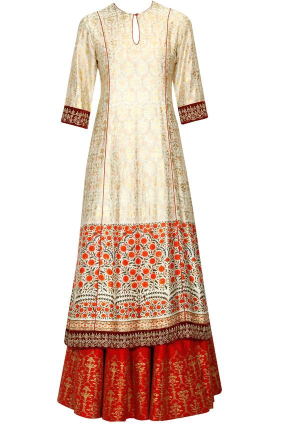 Beige and gold digital printed kurta and red sharara pants set available only at Pernia's Pop Up Shop.