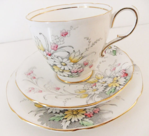 Vintage Paragon Bone China Tea Cup and Saucers
