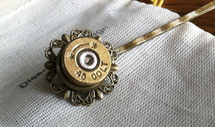 Bullet hair clip 1911 45 auto hunting deer rifle auto  Adjustable upcycled recycled handmade bullet jewelry mens ring or womens ring. $12.99, via Etsy.@ https://www.etsy.com/treasury/MjI0NjE5MTJ8MjcyMTU0NjQ1Nw/abeeshandmade-2013-pnr-week-10-total-96?index=5=2#comments