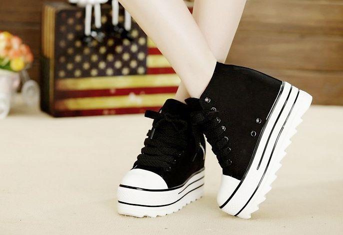 Black & White Platform High Top Sneakers from hhotaru