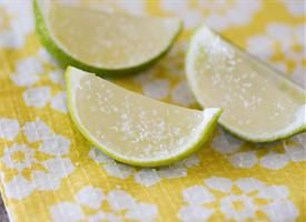 A fun take on the classic drink. Margarita jello served in a hollowed out lime. Serve with salt and get ready to have a good time
