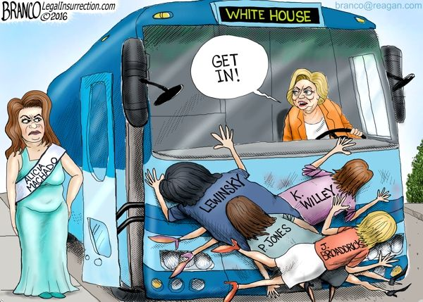 Hillary is using Alicia Machado to spotlight Trump's war on women, but what about Juanita Broaddrick, Paula Jones, Kathleen Willey, Monica Lewinsky, and many others who Hillary tried to destroy. Cartoon by A.F. Branco ©2016.