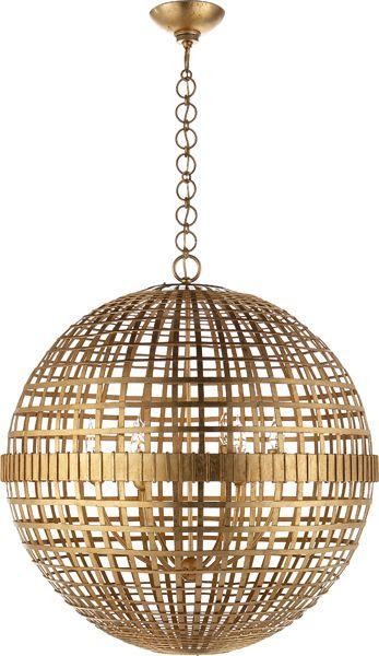 Beautiful #Gilded Atlas style globe chandelier pendant.  Stunning.  MILL CEILING LIGHT @CircaLighting