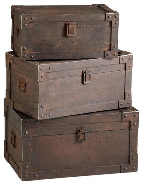 Set of 3 Yuma Industrial Loft Iron Stacking Storage Trunk - transitional - Storage Boxes - Kathy Kuo Home