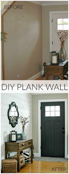 DIY Plank Wall Entryway Reveal >>>seems fairly straightforward but oh so effective!!! So beautiful. Via - Littlehouseoffour.com