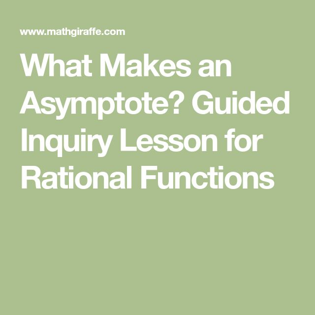 What Makes an Asymptote? Guided Inquiry Lesson for Rational Functions
