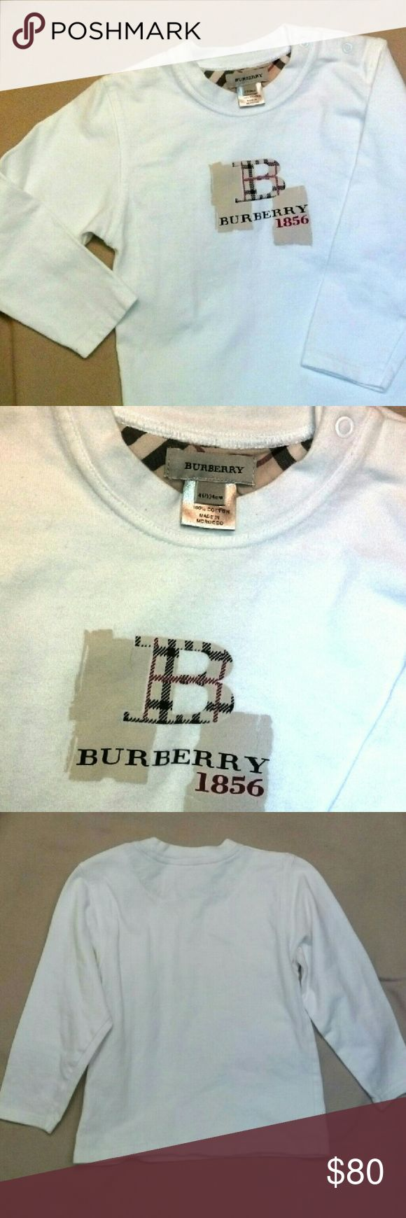 🚸Burberry Toddler Warm Shirt, Size: 4T, UNISEX🚸 Toddler, Kids, 100% Cotton. Brand: Burberry Size: 4 Years, 104cm. Made in: Morocco. 2 Snaps on Left Neck/Shoulder. Good Condition. ?? View Pictures of this Shirt. ?? Burberry Shirts & Tops Tees - Long Sleeve