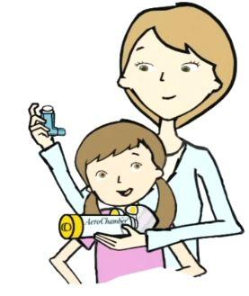 Aerochamber met kindermasker. Met de Flow-Vu inhalatie-indicator zijn de inhalaties goed te tellen.