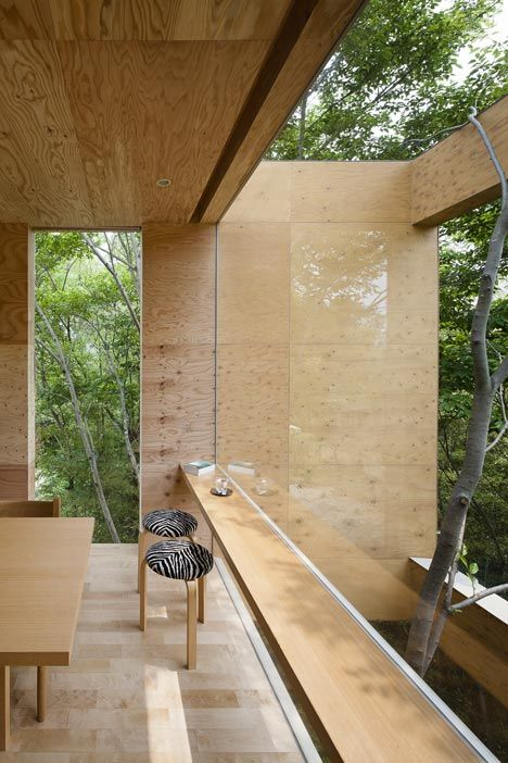 Japanese studio UID Architects: used cedar to clad the exterior walls, then lined the interior with plywood panels.