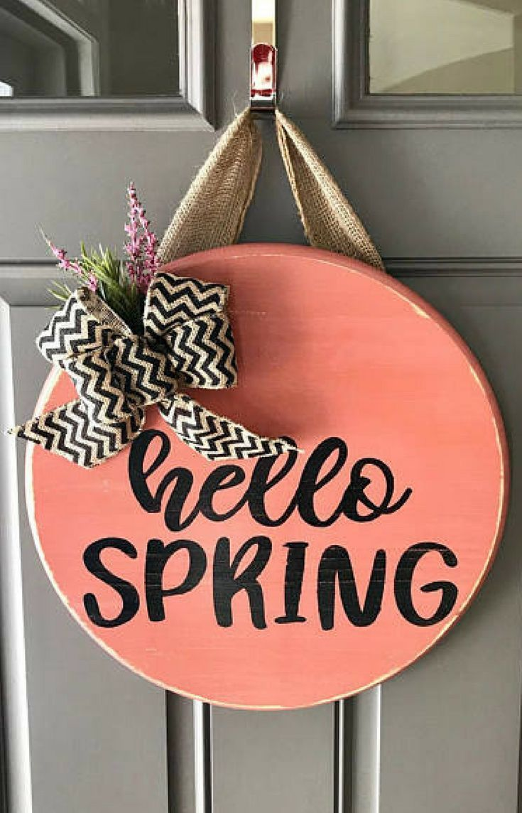 Hello Spring Door Hanger With Burlap Bow And Lavender