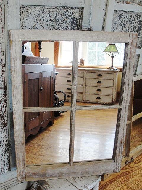 Vintage Wooden Barn Window Mirror